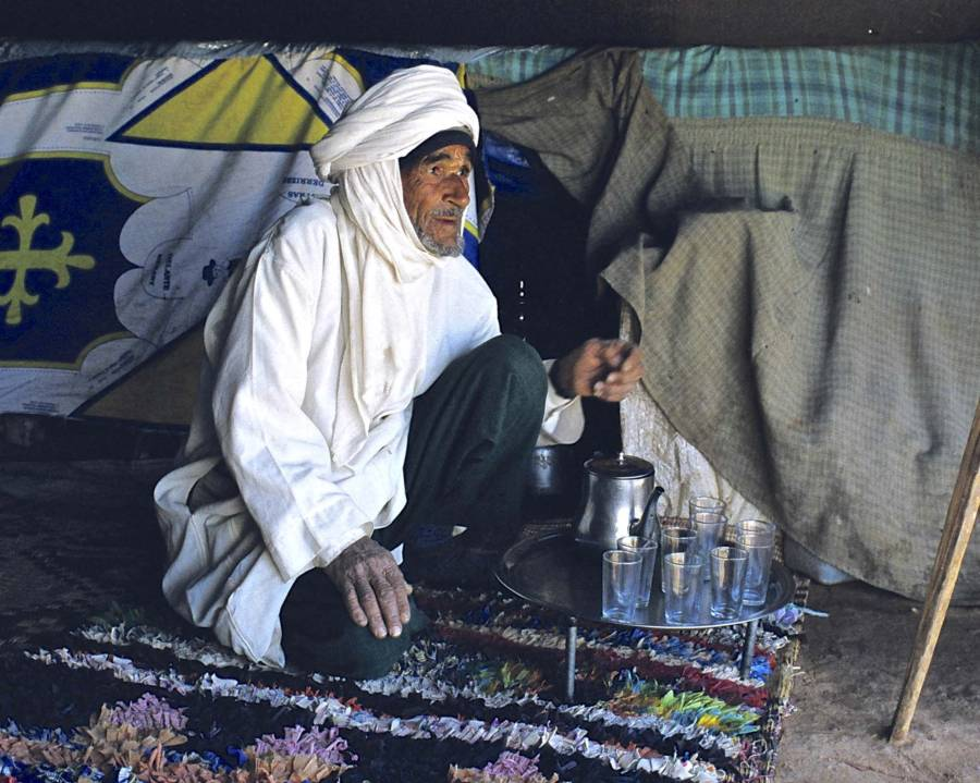 Berber Merchant In His Desert Tent